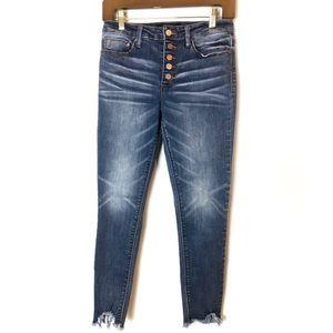 Indigo Rein Frayed High Waist Ankle Cropped Jeans